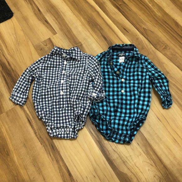 OshKosh Baby Boy Button Down Onesie Bundle